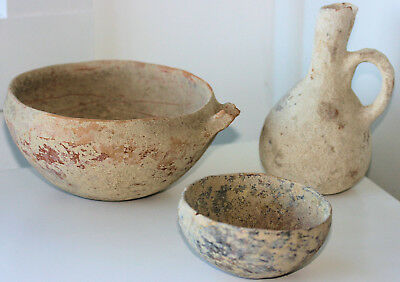 Three Cypriot pottery vessels - bowls and jug - acquired 1968/1969