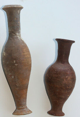 Two Roman or Hellenistic pottery spindle flasks / unguent vessels