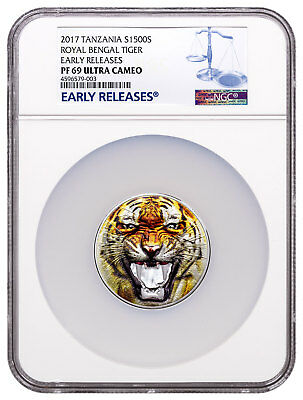 2017 Tanzania Bengal Tiger Ultra High Relief 2 oz Silver NGC PF69 UC ER SKU49401