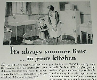 1929 General Electric fridge advertisement, early MONITOR-TOP refrigerator