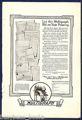 1916 MULTIGRAPH advertisement, Multigraph Senior printer, duplicator