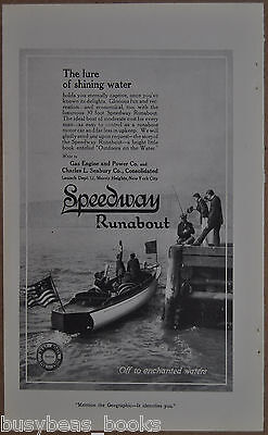 1913 SPEEDWAY RUNABOUT advertisement, 30ft wood motorboat, New York