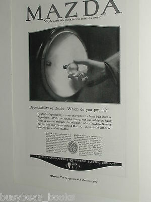 1920 Mazda Lamps advertisement page, General Electric, auto headlamp bulb
