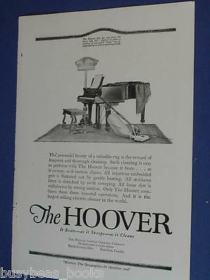 1920 Hoover advertisement, vacuum cleaner, suction sweeper, photo
