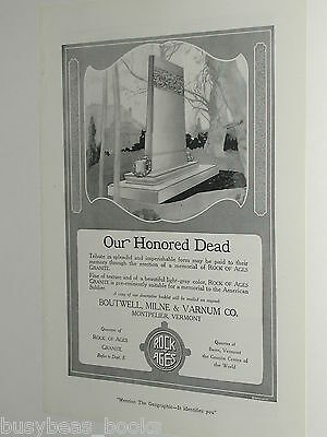 1920 Rock of Ages advertisement, WWI Soldiers Memorial, monument