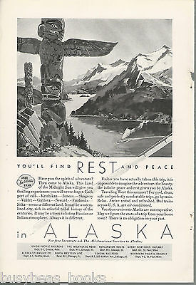 1935 ALASKA TOURISM advertisement, Totem Pole railway steamship