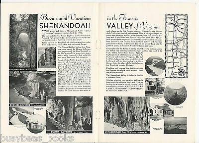 1932 SHENANDOAH VALLEY 2-page advertisement, VIRGINIA, Skyline Scenic Highway