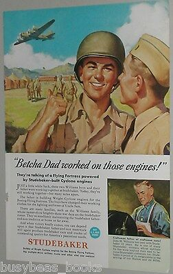 1943 Studebaker ad, Flying Fortress, WWII soldiers
