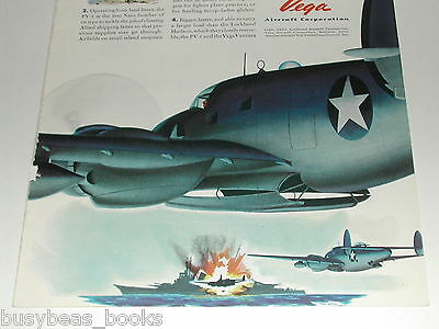 1943 Vega Ventura advertisement, Lockheed, PV-1 medium bomber attacking ship
