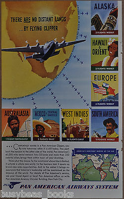 1941 Pan American advertisement, PAN AM Flying Clipper, PAA, worldwide flights