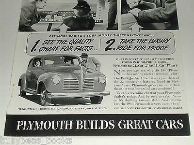 1940 Plymouth ad, steel body coupe, car quality chart