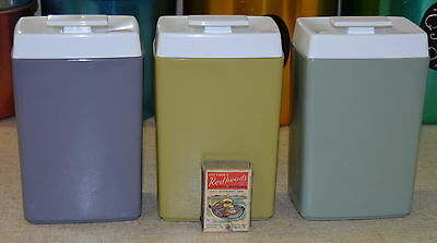 Set of 3 RETRO NYLEX CANISTERS Harlequin purple/green/mustard VINTAGE