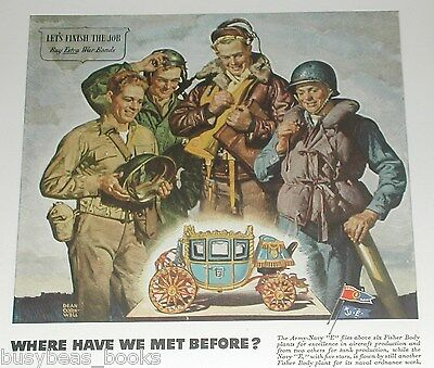 1945 Fisher Body advertisement, Armed Forces soldiers admiring Napoleonic Coach