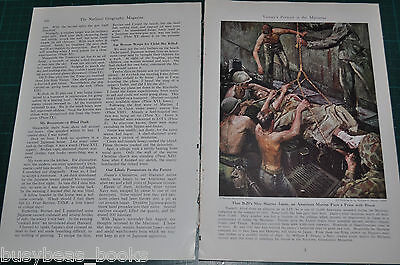 1945 magazine article about the MARIANAS, WWII Marines soldier art, 17 paintings