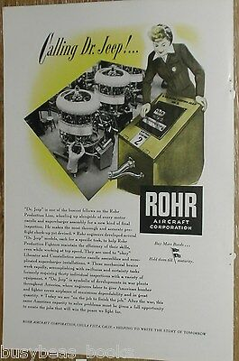 1944 ROHR Aircraft advertisement, Airplane Engine testing, Dr. Jeep