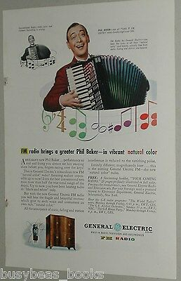1945 General Electric advertisement for FM Radio, with Phil Baker on accordion