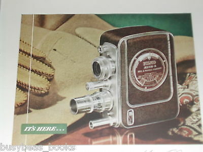 1948 Bell & Howell FILMO movie camera advertisement, color photo