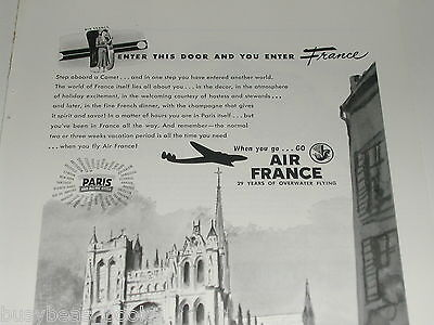 1948 Air France ad, Notre Dame, Constellation plane