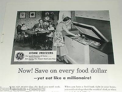 1949 General Electric ad, GE Home Freezer, happy family