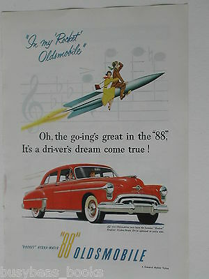 1950 Oldsmobile ad, color painting, 88, Rocket 88