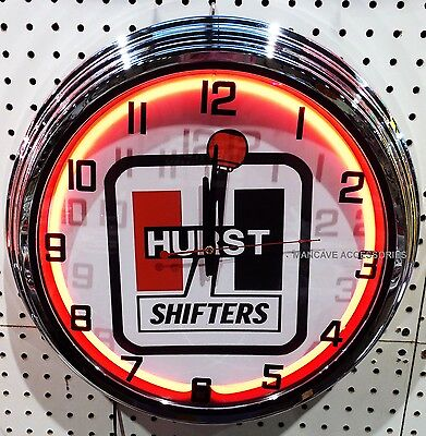 "17"" HURST Shifters Sign Single Neon Clock"