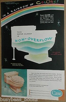 1956 CASE TOILET advertisement, non-overflow one-piece water closet, colorful
