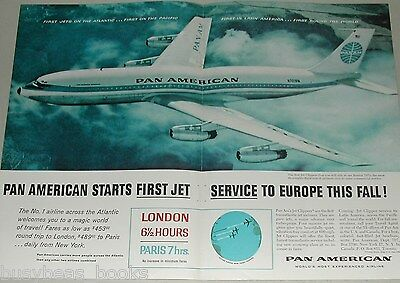 1958 Pan Am airlines 2 page advertisement, PAN AM Boeing 707, huge photo