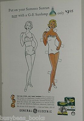 1958 General Electric advertisement, Sunlamp, paper doll in bathing suit tanning