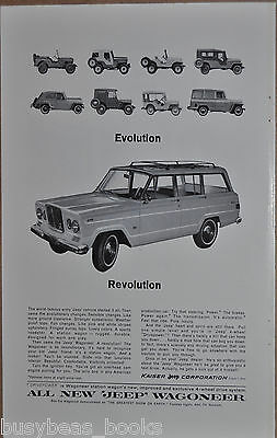 1964 JEEP Wagoneer advertisement, with earlier Jeeps, WWII, Kaiser-Jeep Corp