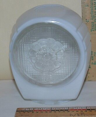 Vintage Art Deco Glass Light globe cover shade frosted white & clear- flower pat