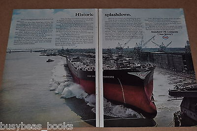 1969 Standard Oil 2-page advert., Oil Tanker Ship Launching, ESSO San Francisco
