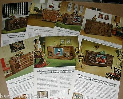 1966 Magnavox advertisements x7, TV sets, stereo cabinet, radio, record player