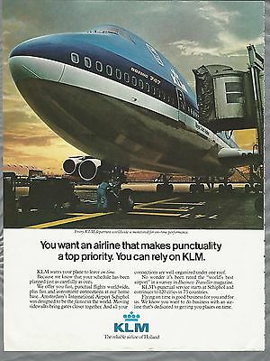 1982 KLM Airlines advertisement, Jumbo Jet, Royal Dutch Airlines