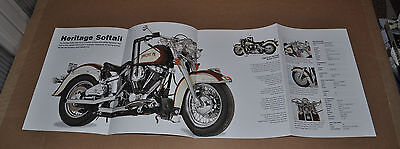 HARLEY DAVIDSON 4-page fold-out photo, 1988 Heritage Softail & 1992 Convertible