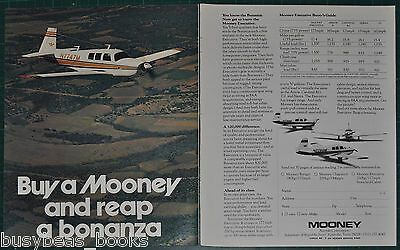 1974 MOONEY EXECUTIVE 2-page advertisement, Mooney Aircraft Co private plane