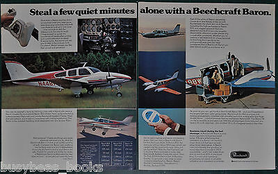 1974 BEECHCRAFT BARON 2-page advertisement, Beech Aircraft Co Baron airplane