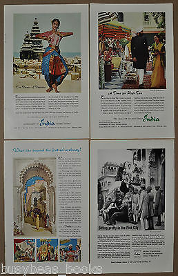 1959-1962 INDIA TOURISM advertisements x4, dance of Bharata, Jaipur elephants