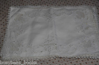PLACEMATS x6 Set, handmade, pierced work, candlewicking lace