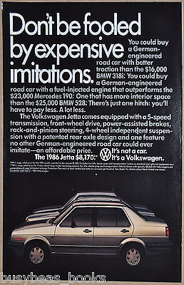 1986 VOLKSWAGEN JETTA advertisement, VW Jetta sedan, European comparisons