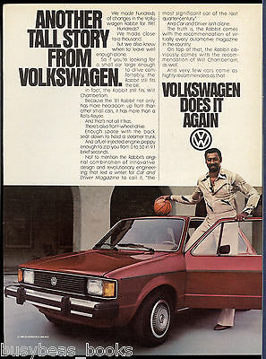 1981 VOLKSWAGEN RABBIT advertisement, VW Rabbit basketball star Wilt Chamberlain