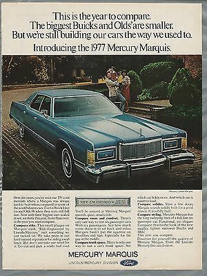 1977 MERCURY MARQUIS advertisement, Full size Ford, Mercury ad