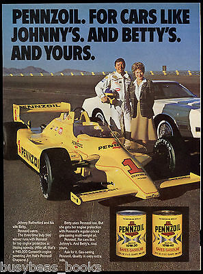 1981 PENNZOIL advertisement, Johnny Rutherford Indy racer & wife Betty
