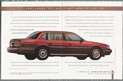 1993 LINCOLN CONTINENTAL 2-page advertisement, Lincoln Continental ad red sedan