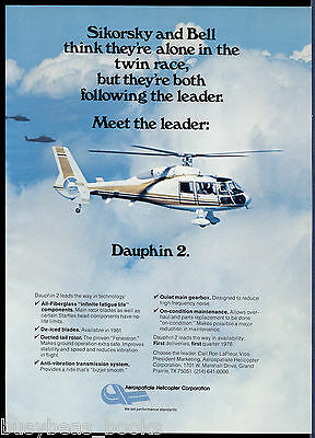 1978 DAUPHIN 2 Helicopter advertisement, Aerospatiale