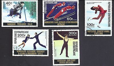 1976 Innsbruck Winter Olympic Games 5 Used Stamps Central African Republic