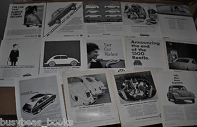 1963-68 VOLKSWAGEN advertisements x14, British magazine, VW Beetle etc
