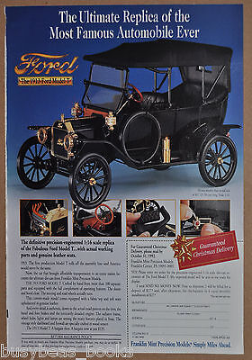1992 Franklin Mint advertisement for the 1919 FORD MODEL T model car
