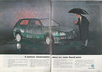 1992 VOLKSWAGEN GOLF 2-page advertisement, British advert, VW paint running