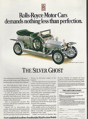 1988 Franklin Mint advertisement for 1907 ROLLS-ROYCE SILVER GHOST model British