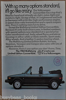 1984 VOLKSWAGEN CONVERTIBLE advertisement, VW Wolfsburg Convertible